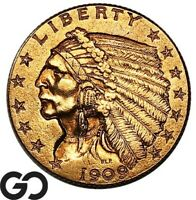 1909 QUARTER EAGLE $2.5 GOLD INDIAN    FREE SHIPPING
