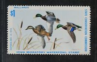 CKSTAMPS: US STATE DUCK STAMPS COLLECTION IOWA SCOTT1 MINT N