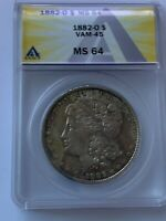 1882 O NEW ORLEANS MORGAN SILVER DOLLAR VAM 45 DOUBLE 18 GRADE ANACS MINT STATE 64 158