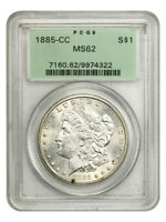 1885-CC $1 PCGS MINT STATE 62 OGH BETTER CC-MINT ISSUE, OLD GREEN LABEL HOLDER