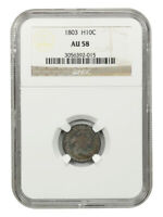 1803 H10C NGC AU58 LARGE 8 EARLY HALF DIMES - BEAUTIFULLY TONED BETTER DATE