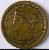 1851 BRAIDED HAIR HALF CENT UNC LIGHTLY CLEANED