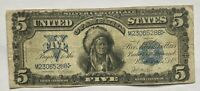 1899 US $5 DOLLAR CHIEF SILVER CERTIFICATE LARGE NOTE