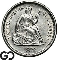 1872 S SEATED LIBERTY HALF DIME NICE SILVER TYPE COIN