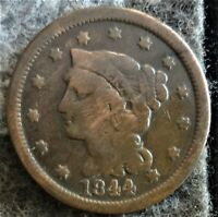 1844 US BRAIDED HAIR LIBERTY HEAD LARGE CENT EARLY COPPER PE