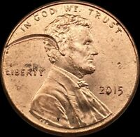 2015 P LINCOLN CENT WITH LARGE STRIKE THROUGH ERROR   FROM RIM THRU HAIR