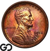1914 LINCOLN CENT WHEAT PENNY HIGHLY ATTRACTIVE SUPERB GEM B