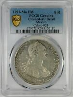 1791 MO MEXICO 8 REALES SILVER COIN PCGS AU DETAILS
