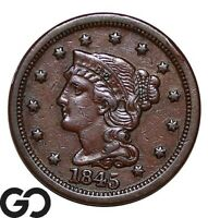 1845 LARGE CENT BRAIDED HAIR CHOICE AU  EARLY COPPER