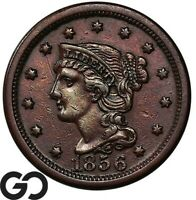 1856 LARGE CENT BRAIDED HAIR UPRIGHT 5 CHOICE AU   EARLY COP