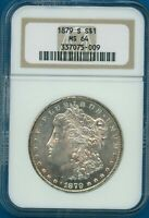 1879 S NGC MINT STATE 64 MORGAN SILVER DOLLAR $1 US MINT 1879-S NGC MINT STATE 64 PQ COIN