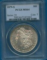 1879 S PCGS MINT STATE 64 MORGAN SILVER DOLLAR $1 US MINT PCGS 1879-S MINT STATE 64 PQ COIN