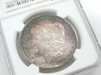 1878-CC MORGAN SILVER DOLLAR NGC MINT STATE 62 RAINBOW COLOR MONSTER TONING Q4C9