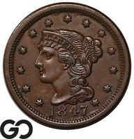 1847 LARGE CENT BRAIDED HAIR CHOICE AU  BETTER DATE EARLY CO