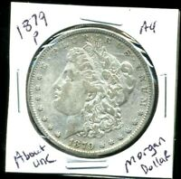 1879 P AU MORGAN DOLLAR 100 CENT  ABOUT UNCIRCULATED 90 SILVER US $1 COIN 3971