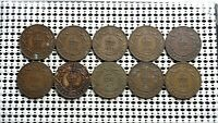 NEWFOUNDLAND CANADA LARGE CENT COIN LOT OF 10  KING GEORGE V