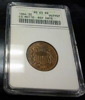 1864 2 CENT ANACS MINT STATE 63 RED BROWN LG MOTTO REPUNCHED DOUBLE DATE  OLD HOLDER