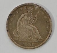 1870 S SEATED LIBERTY SILVER HALF DOLLAR /G2397