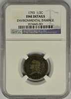 1793 HALF CENT FLOWING HAIR NGC FINE DETAILS.