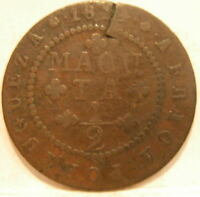 ANGOLA PORTUGUESE COLONY 1814 COPPER 1/2 MACUTA CIRCULATED POOR CONDITION