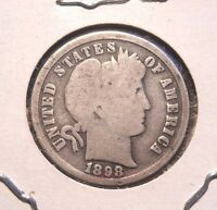 1898 BARBER DIME NICE CIRCULATED COIN WITH FULL RIMS AND UNCLEANED PATINA