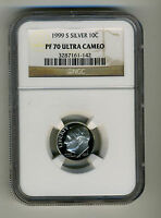 1999 S NGC SILVER PF 70 ULTRA CAMEO ROOSEVELT DIMERADIANT