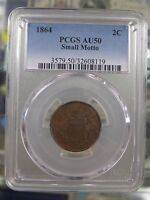 1864 TWO CENT 2C SMALL MOTTO  DATE, HIGH GRADE PCGS AU-50