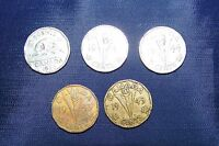 CANADA FIVE 5 CENT COINS 1943 1943 1944 1945 1953 BROWN & SILVER NICKEL COINS