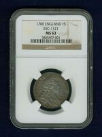 G.B./ENGLAND WILLIAM III 1700 1 SHILLING COIN UNCIRCULATED NGC CERTIFIED MS63