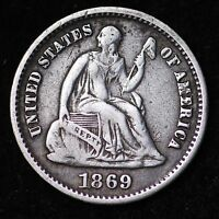 1869 S SEATED LIBERTY HALF DIME CHOICE VF