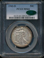 1943 D WALKING LIBERTY SILVER HALF DOLLAR COIN PCGS MINT STATE 66 CAC INCREDIBLE SWH222