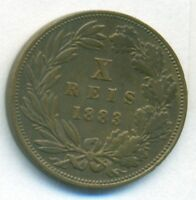 PORTUGAL COIN 10 REIS 1883 BRONZE KM 526 VF