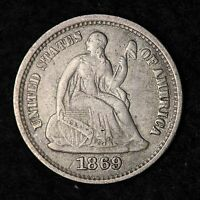 1869 S SEATED LIBERTY HALF DIME CHOICE XF