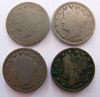 4 LIBERTY NICKELS/YRS 1893  1899  1899  1910   /COPPER & NICKEL COMP