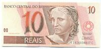 BRAZIL NOTE 10 REAIS 1997 SERIAL 1826 P 245AA XF