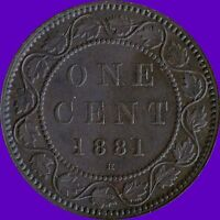 1881 'H' CANADA 1 CENT COIN NO TAX !