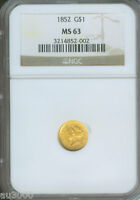 1852 G$1 GOLD DOLLAR $1  NGC  MS63 GOLD COIN MS 63 !!!!