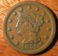 1851 BRAIDED HAIR LARGE CENT VF ORIGINAL
