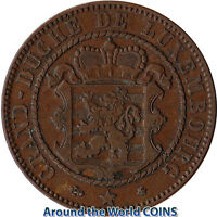 1865 LUXEMBOURG 10 CENTIMES LARGE COIN WILLIAM III KM23.2