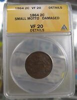 1864 TWO CENT 2C SMALL MOTTO ANACS VF20 DETAILS
