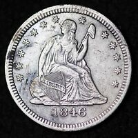 1846 SEATED LIBERTY QUARTER DETAIL XF  500,000