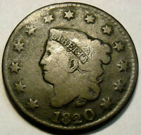 1820 CORONET HEAD LARGE CENT LARGE DATE CURLED TOP 2 NICE CIRCULATED COIN