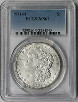 1921 D MORGAN SILVER DOLLAR $1 MS 61 PCGS