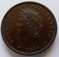 1826 GEORGE IV BRONZE PROOF PENNY THICK LINE ON SALTIRE