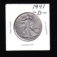 1941 D  LIBERTY WALKER HALF DOLLAR 90 SILVER