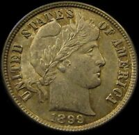 1899 BARBER DIMEVERY CHOICE ORIGINAL AU TYPE COIN W/ TONS OF APPEAL