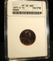 1971 S LINCOLN CENT   ANACS  PF65  RED   1792
