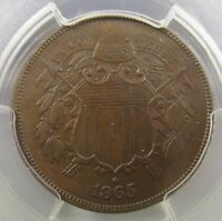 1865-P FANCY 5 TWO CENT PIECE 2C PCGS MINT STATE 64 BROWN BN