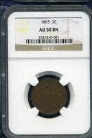 1865 UNITED STATES 2 CENT PIECE NGC AU50 BN