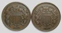 LOT OF 2 1864 & 1867 COPPER 2C TWO CENT PIECES VF LARGE MOTTO 55807